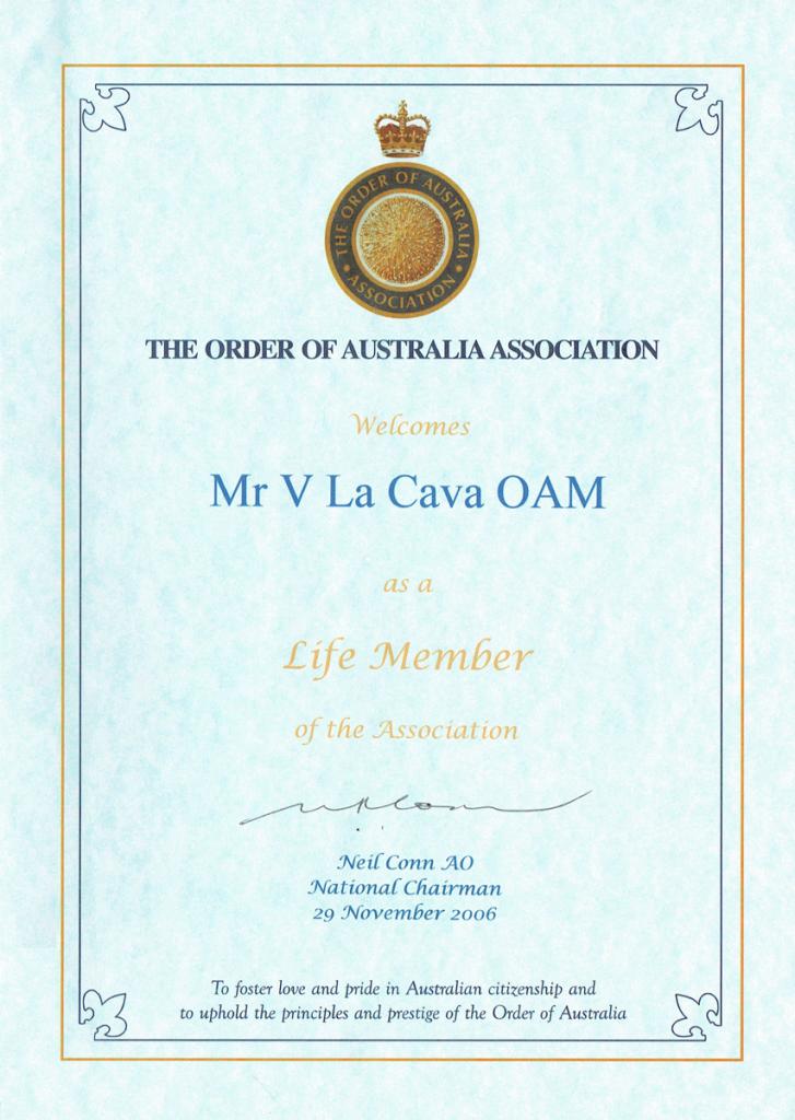 Order of Australia - Vincenzo La Cava